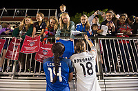 Boyds, MD - Saturday May 20, 2017: Sydney Leroux, Nicole Barnhart and fans during a regular season National Women's Soccer League (NWSL) match between the Washington Spirit and FC Kansas City at Maureen Hendricks Field, Maryland SoccerPlex.