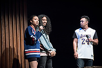 First-year Tyler Ivy '20 sang a cappella to a full audience at Thorne Hall.<br /> Apollo Night hosts Ashley Rivera '19 and Austin Wilson '19, the charismatic and welcoming hosts of Apollo Night.<br /> Occidental College students perform and compete during Apollo Night, one of Oxy's biggest talent showcases, on Feb. 24, 2017 in Thorne Hall. Sponsored by ASOC and hosted by the Black Student Alliance as part of Black History Month.<br /> (Photo by Marc Campos, Occidental College Photographer)