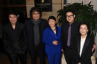 11 January 2020 - Century City, California - (L-R) Song Kang Ho, Bong Joon Ho, Lee Jeong-eun, Jin Won Han and guest . 45th Annual Los Angeles Critics Association (LAFCA) Awards Ceremony at the InterContinental. Photo Credit: Billy Bennight/AdMedia