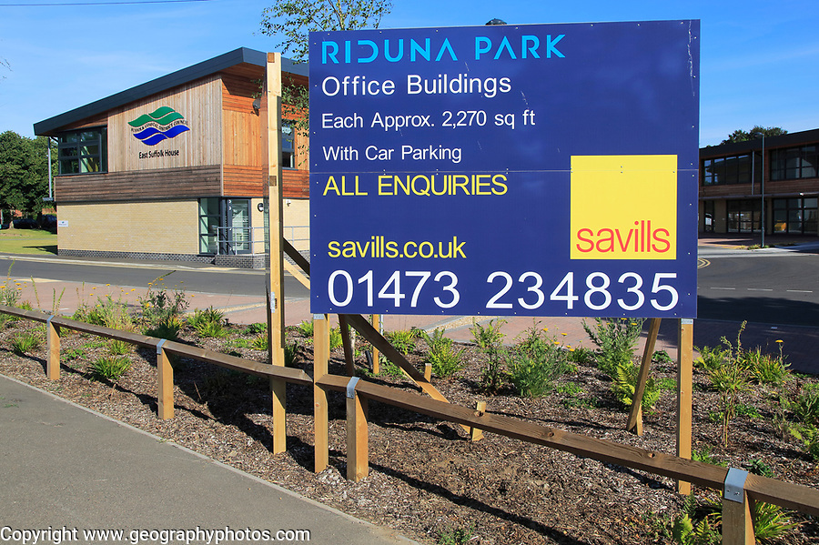 Savills commercial property advertising office buildings, Riduna Park, Melton, Suffolk, England, UK