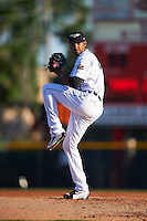 Lakeland Flying Tigers starting pitcher Endrys Briceno (45) delivers a warmup pitch during a game against the Tampa Yankees on April 7, 2016 at Henley Field in Lakeland, Florida.  Tampa defeated Lakeland 9-2.  (Mike Janes/Four Seam Images)