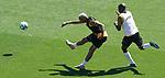 Getafe's Deyverson Da Silva (l) and Allan Nyom during training session. June 5,2020.(ALTERPHOTOS/Acero)