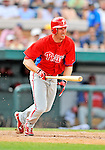 9 March 2011: Philadelphia Phillies' fielder Pete Orr in action during a Spring Training game against the Detroit Tigers at Joker Marchant Stadium in Lakeland, Florida. The Phillies defeated the Tigers 5-3 in Grapefruit League play. Mandatory Credit: Ed Wolfstein Photo
