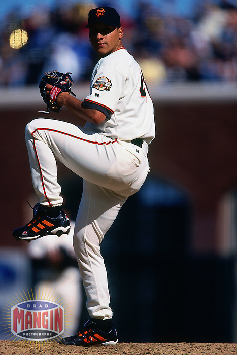 SAN FRANCISCO, CA - Russ Ortiz of the San Francisco Giants pitches during a game at Pacific Bell Park in San Francisco, California in 2000. Photo by Brad Mangin