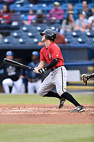 Kannapolis Intimidators third baseman Zach Remillard (8) swings at a pitch during a game against the Asheville Tourists at McCormick Field on April 18, 2017 in Asheville, North Carolina. The Intimidators defeated the Tourists 6-1. (Tony Farlow/Four Seam Images)