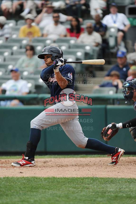 New Hampshire Fisher Cats outfielder Johnathan Jones (4) during game against the Trenton Thunder at ARM & HAMMER Park on June 22, 2014 in Trenton, NJ.  New Hampshire defeated Trenton 7-2.  (Tomasso DeRosa/Four Seam Images)