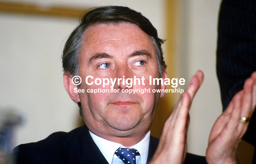 David Steel, joint leader, Social &amp; Liberal Democratic Party, UK, attendee at Alliance Party of N Ireland annual conference. 19880401DS1.Copyright Image from Victor Patterson, 54 Dorchester Park, Belfast, UK, BT9 6RJ<br />