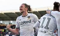 Leeds United's Luke Ayling celebrates Tyler Roberts' second goal, his side's fourth<br /> <br /> Photographer Alex Dodd/CameraSport<br /> <br /> The EFL Sky Bet Championship - Hull City v Leeds United - Saturday 29th February 2020 - KCOM Stadium - Hull<br /> <br /> World Copyright © 2020 CameraSport. All rights reserved. 43 Linden Ave. Countesthorpe. Leicester. England. LE8 5PG - Tel: +44 (0) 116 277 4147 - admin@camerasport.com - www.camerasport.com