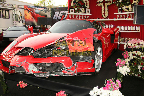 "FERRARI ENZO wrecked by Eddie Griffin.""Redline"" Los Angeles Premiere at Grauman's Chinese Theatre, Hollywood, California, USA, 12 April 2007..cars red racing smashed damaged crashed.CAP/ADM/BP.©Byron Purvis/AdMedia/Capital Pictures."