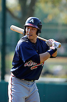Outfielder Kyeong Kang (97) of the Atlanta Braves farm system in a Minor League Spring Training intrasquad game on Wednesday, March 18, 2015, at the ESPN Wide World of Sports Complex in Lake Buena Vista, Florida. (Tom Priddy/Four Seam Images)