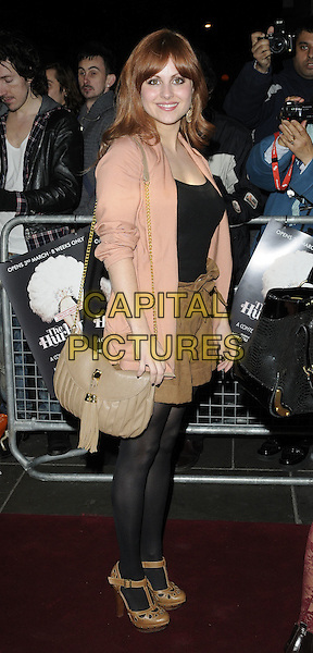 TINA O'BRIEN.Press night for 'The Hurly Burly Show' at the Garrick Theatre, London, England, March 11th 2011..full length beige bag peach jacket blazer brown tan shoes sandals black tights side shorts brown top side.CAP/CAN.©Can Nguyen/Capital Pictures.