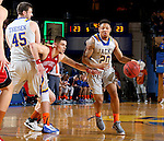 BROOKINGS, SD - DECEMBER 31:  Andre Wallace #20 from South Dakota State University tries to get a step past past Matt Mooney #13 from the University of South Dakota during their game Saturday afternoon at Frost Arena in Brookings. (Dave Eggen/Inertia)