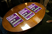 Fliers left by demonstrators are seen on a coffee table in the office of Senator Cindy Hyde-Smith, Republican of Mississippi, on Capitol Hill in Washington, DC on September 26, 2018. The demonstrators are protesting against the nomination of Judge Brett Kavanaugh to be a Supreme Court Associate Justice. Credit: Alex Edelman / CNP