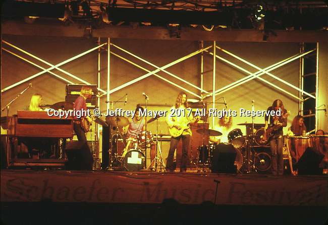 "NEW YORK, NY - JULY 21: Musicians Gregg Allman, Duane Allman, Dickey Betts, Jai Johanny ""Jaimoe"" Johanson, Berry Oakley and Butch Trucks live in concert with the Allman Brothers Band at the Schaefer Music Festival in Central Park on July 21, 1971 in New York, New York."