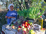 Woman selling fresh fruit from a roadside stall, Kayakoy village, Fethiye, Turkey