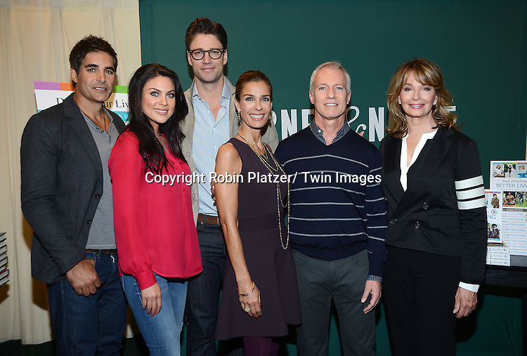 """Cast and writers , Jadia Bjorlin, Eddie Campbell, Galen Gering, Greg Meng, Deidre Hall, James Scott and Kristian Alfonso attend the Days of Our Lives Cast signing """" Days of Our Lives Better Living""""  book on September 23, 2013 at Barnes & Noble on 5th Avenue in New York City. The book was written by Eddie Campbell and  Greg  Meng."""