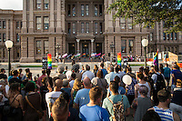 AUSTIN, TEXAS - Participants gather on the South steps of the Texas State Capitol on Saturday, Aug. 23, 2016 for the 5th Annual Stonewall Rally in observance of the 46th anniversary of the Stonewall Riots. The Stonewall Celebration pays tribute to the individuals that sparked the modern day gay rights movement in June 1969 at the Stonewall Inn. This event is sponsored by The Austin Gay &amp; Lesbian Pride Foundation (AGLPF), Transgender Education Network of Texas, and Equality Texas.<br />
