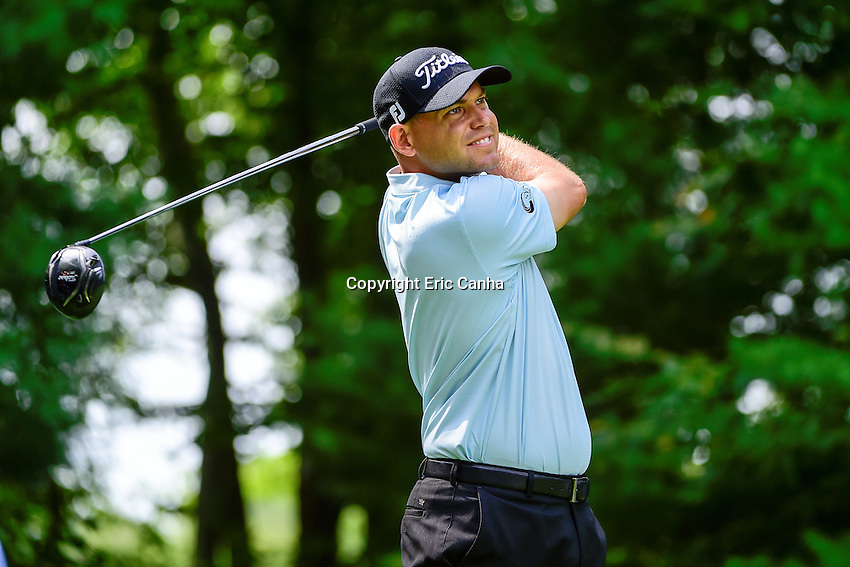 Saturday, September 3, 2016:  Bill Haas watches the flight of his ball from the 9th tee during the second round of the Deutsche Bank Championship tournament held at the Tournament Players Club, in Norton, Massachusetts.  Eric Canha/Cal Sport Media
