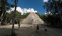 Tourism at the pyramids of Coba, Quintana Roo, Mexico.  Saturday, December 8, 2007