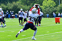 June 13, 2017: New England Patriots running back Dion Lewis (33) makes a catch at the New England Patriots organized team activity held on the practice field at Gillette Stadium, in Foxborough, Massachusetts. Eric Canha/CSM
