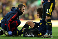 1st December 2019; Carrow Road, Norwich, Norfolk, England, English Premier League Football, Norwich versus Arsenal; Matteo Guendouzi of Arsenal goes down injured - Strictly Editorial Use Only. No use with unauthorized audio, video, data, fixture lists, club/league logos or 'live' services. Online in-match use limited to 120 images, no video emulation. No use in betting, games or single club/league/player publications