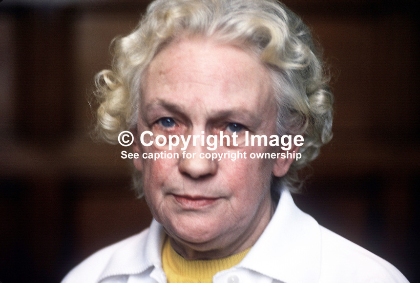 Betty Sinclair, Belfast, N Ireland, prominent member, Communist Party of Ireland. Trade unionist. She was also prominent in the N Ireland Civil Rights Association, NICRA. 197805000125BS1<br />
