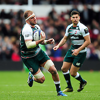 Lachlan McCaffrey of Leicester Tigers in possession. European Rugby Champions Cup semi final, between Leicester Tigers and Racing 92 on April 24, 2016 at The City Ground in Nottingham, England. Photo by: Patrick Khachfe / JMP