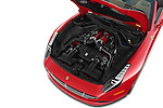 Car Stock 2015 Ferrari California T 2 Door Convertible Engine high angle detail view