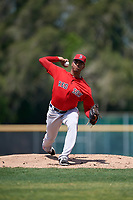 Boston Red Sox pitcher Denyi Reyes (66) during a Minor League Spring Training game against the Baltimore Orioles on March 20, 2018 at Buck O'Neil Complex in Sarasota, Florida.  (Mike Janes/Four Seam Images)