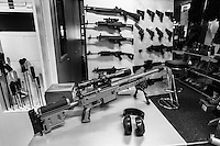 Switzerland. Canton Obwald. Lungern. Brünig Indoor. Shooting range. Shop. A german Haenel rifle system RS9 which is the magnum variant of Haenel RS8. Base for a wide action radius and optimized for shooting on long distances, the rifle has an adjustable double stage trigger and a 10 rounds magasine cap. An assault rifle is a selective-fire rifle that uses an intermediate cartridge and a detachable magazine. All weapons and handguns are for sale.16.06.2016 © 2016 Didier Ruef