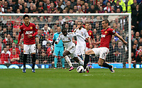 Pictured: (L-R) Shinji Kagawa, Nathan Dyer, Nemanja Vidic.<br /> Sunday 12 May 2013<br /> Re: Barclay's Premier League, Manchester City FC v Swansea City FC at the Old Trafford Stadium, Manchester.