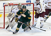 Parker Milner (BC - 35), Ben Albertson (UVM - 18), Teddy Doherty (BC - 4) - The Boston College Eagles defeated the University of Vermont Catamounts 4-1 on Friday, February 1, 2013, at Kelley Rink in Conte Forum in Chestnut Hill, Massachusetts.