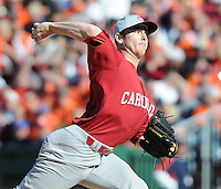 South Carolina RHP Sam Dyson (20) throws during a game between the Clemson Tigers and South Carolina Gamecocks Saturday, March 6, 2010, at Fluor Field at the West End in Greenville, S.C. Dyson, ranked the No. 27 junior prospect by Baseball America, was the Gamecocks' starting pitcher. Photo by: Tom Priddy/Four Seam Images