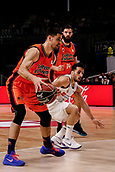 25th March 2018, Madrid, Spain; Endesa Basketball League, Real Madrid versus Valencia; Alberto Abalde (Valencia Basket) breaks away from the defence of Facundo Campazzo (Real Madrid Baloncesto)