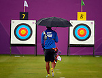 LONDON, ENGLAND - JULY 27:  Yu-Cheng Chen of Chinese Tapei walks to the target during the Men's Individual Archery Ranking Round on Olympics Opening Day as part of the London 2012 Olympic Games at the Lord's Cricket Ground on July 27, 2012 in London, England. (Photo by Donald Miralle)
