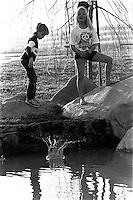 Kids playing in San Ramon City Center Park, 1987. &amp;#xA;<br />