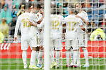 Real Madrid's players celebrate goal during La Liga match. September 14,2019. (ALTERPHOTOS/Acero)