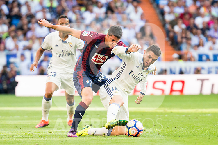 Real Madrid's player Danilo Luiz Da Silva and Mateo Kovacic and Eibar FC's player Ander Capa during a match of La Liga Santander at Santiago Bernabeu Stadium in Madrid. October 02, Spain. 2016. (ALTERPHOTOS/BorjaB.Hojas)