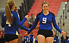 Shelter Island No. 9 Margaret Michalak, right, and teammates react as they close in on victory over Pierson in the Suffolk County varsity girls' volleyball Class D final at Suffolk Community College Grant Campus on Monday, November 9, 2015. Shelter Island won 25-9, 25-4, 25-13.