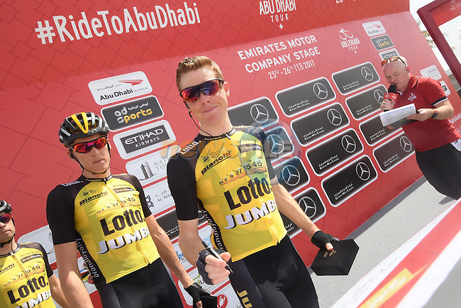 Steven Kruijswijk (NED) Team Lotto NL-Jumbo and team mates sign on before the start of Stage 1 Emirates Motor Company Stage of the 2017 Abu Dhabi Tour, running 189km from Madinat Zayed through the desert and back to Madinat Zayed, Abu Dhabi. 23rd February 2017<br /> Picture: ANSA/Matteo Bazzi | Newsfile<br /> <br /> <br /> All photos usage must carry mandatory copyright credit (&copy; Newsfile | ANSA)