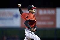 Kannapolis Intimidators relief pitcher Kevin Escorcia (12) in action against the Lakewood BlueClaws at Kannapolis Intimidators Stadium on April 6, 2018 in Kannapolis, North Carolina.  The BlueClaws defeated the Intimidators 4-3. (Brian Westerholt/Four Seam Images)