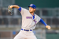 South Bend Cubs pitcher Kyle Twomey (11) delivers a pitch to the plate against the Lansing Lugnuts on May 12, 2016 at Cooley Law School Stadium in Lansing, Michigan. Lansing defeated South Bend 5-0. (Andrew Woolley/Four Seam Images)