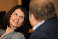 Former U.S. Women's National Team member Mia Hamm talks with The Price is Right host Drew Carey during a meeting of the Board Members of the USA Bid Committee for the FIFA World Cup in New York, NY on December 15, 2009. Handout photo courtesy USA Bid Committee.