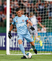 1st February 2020; HBF Park, Perth, Western Australia, Australia; A League Football, Perth Glory versus Melbourne Victory; A dissappointed Liam Reddy of the Perth Glory kicks the ball back to the centre after Melbourne scored through their Captain Ola Toivonen in the 24th minute to put them in front 1-0