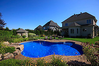 South of Montreal (QC) CANADA, - August 2008 -.Property Release Photo..Inground swimming pool on a hot summer day...