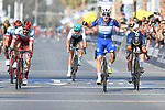 Race leader Elia Viviani (ITA) Quick-Step Floors wins with Marco Haller (AUT) Katusha Alpecin in 2nd place at the finish line of Stage 5 The Meraas Stage final stage of the Dubai Tour 2018 the Dubai Tour&rsquo;s 5th edition, running 132km from Skydive Dubai to City Walk, Dubai, United Arab Emirates. 10th February 2018.<br /> Picture: LaPresse/Fabio Ferrari | Cyclefile<br /> <br /> <br /> All photos usage must carry mandatory copyright credit (&copy; Cyclefile | LaPresse/Fabio Ferrari)