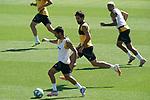 Getafe's Angel Rodriguez, Xavier Etxeita and Deyverson Da Silva during training session. June 5,2020.(ALTERPHOTOS/Acero)