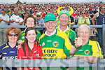 Bridget and Liz O'Connell, Tralee, Marie O'Callaghan, Cork, Tim and Michael O'Connell, Tralee, Hannah Moriarty, Killorglin Kerry fans at the Munster Senior Football Final in Fitzgerald Stadium in Killarney on Sunday.