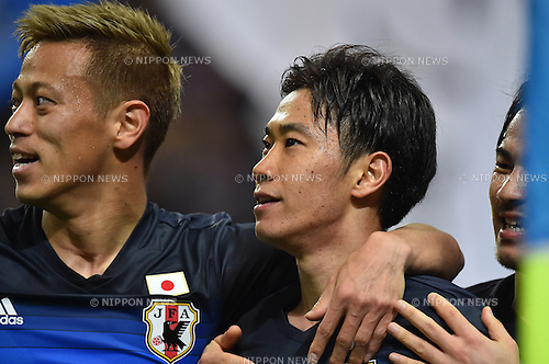 (L-R) Keisuke Honda, Shinji Kagawa (JPN),<br /> MARCH 29, 2016 - Football / Soccer :<br /> Shinji Kagawa of Japan celebrates with his teammate Keisuke Honda after scoring their second goal during the FIFA World Cup Russia 2018 Asian Qualifier Second Round Group E match between Japan 5-0 Syria at Saitama Stadium 2002 in Saitama, Japan. (Photo by AFLO)