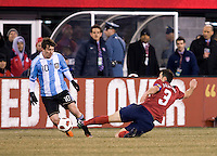 Lionel Messi, Carlos Bocanegra. The USMNT tied Argentina, 1-1, at the New Meadowlands Stadium in East Rutherford, NJ.